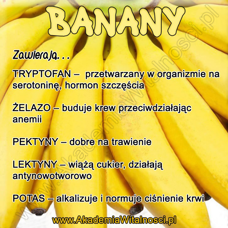 banany właściwości zdrowotne